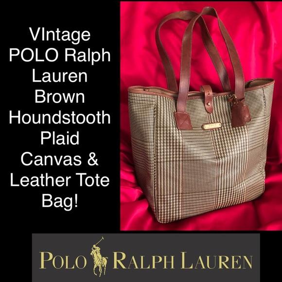 ab329738f5 Vtg POLO Ralph Lauren Houndstooth Plaid Tote Bag! M 5b832b5c8158b546d7c69e98